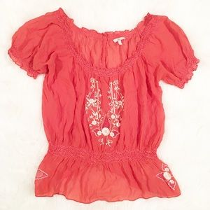 Joie orange pink smock blouse small